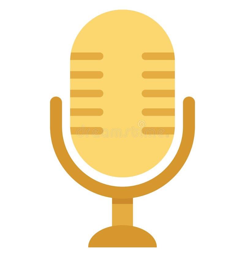 Mikrofon redigerbara Mic Vector Icon royaltyfri illustrationer
