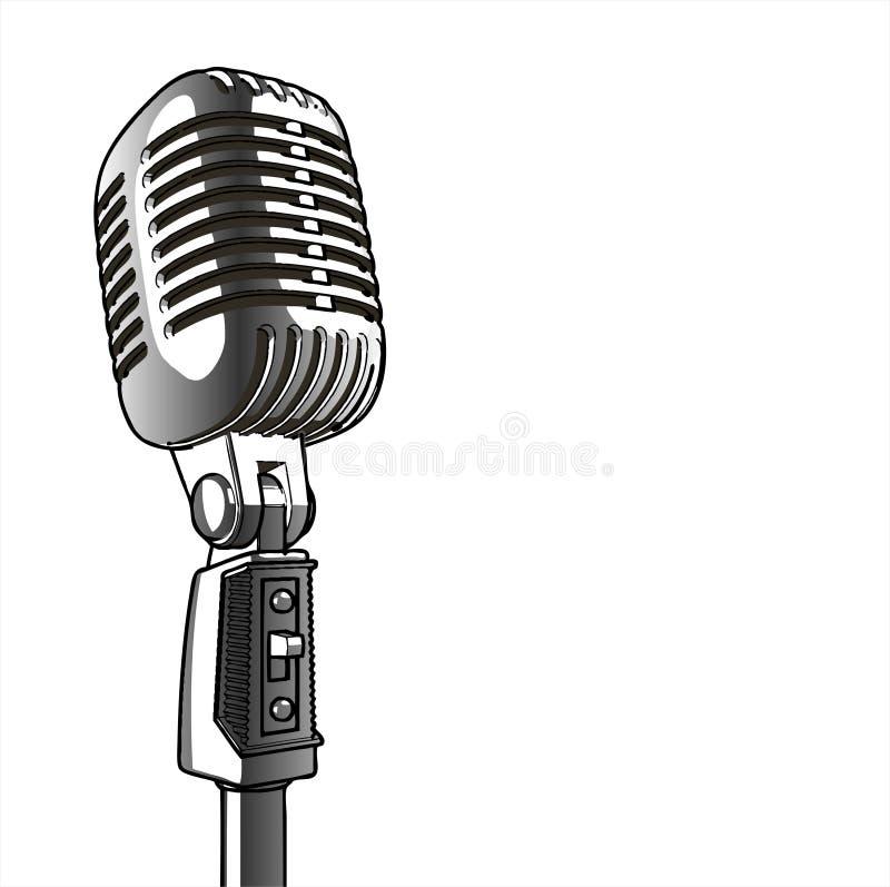 mikrofon, rocznik wektora royalty ilustracja