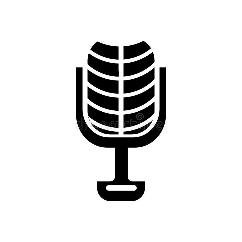 Mikrofon rocznika projekta ikony wektoru znak i symbol odizolowywamy royalty ilustracja