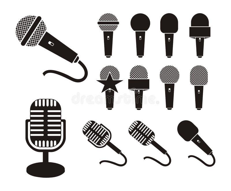Mikrofon sylwetka ilustracja wektor