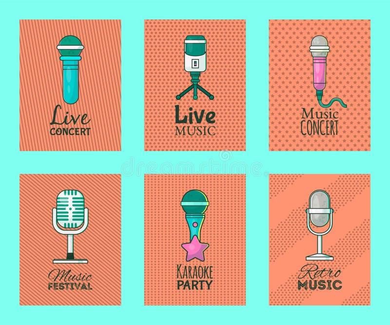 Mikrofon ustawiaj?cy karta wektoru ilustracja ?yje koncert z muzyk? Karaoke przyj?cie Festiwal Muzyki Retro piosenkarzi i ilustracja wektor