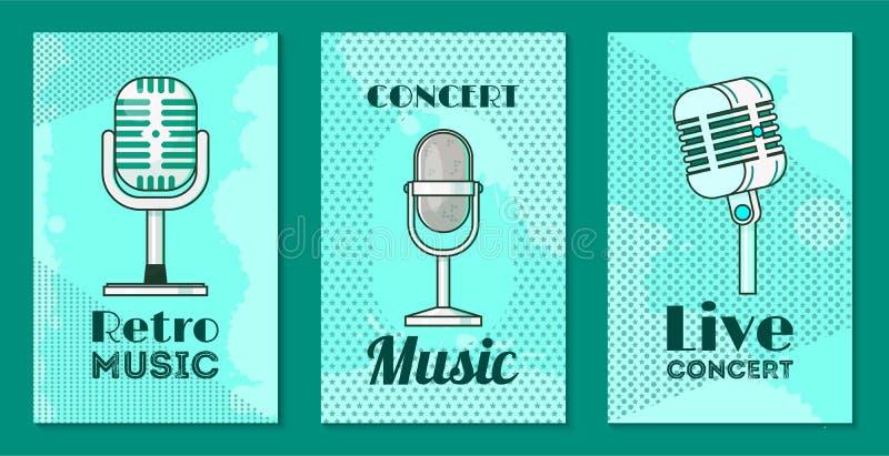 Mikrofon ustawiaj?cy karty, plakata wektoru ilustracja Retro muzyka, koncertowa muzyka, ?yje koncert Magnetofonowe piosenki obok ilustracji