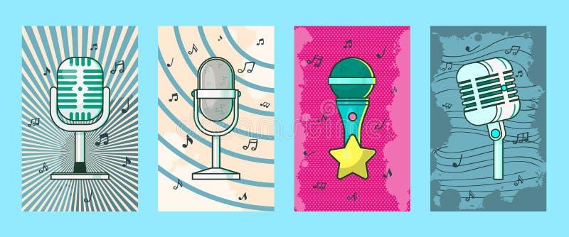 Mikrofon ustawiaj?cy karty, plakata wektoru ilustracja Retro muzyka, koncertowa muzyka, ?yje koncert Magnetofonowe piosenki obok ilustracja wektor