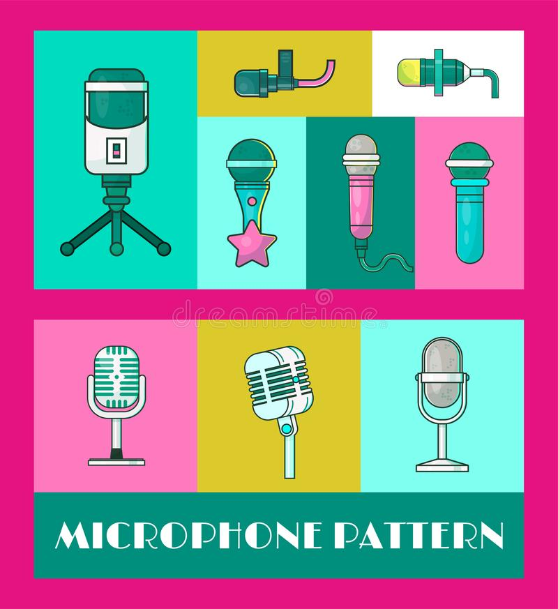 Mikrofon ustawiaj?cy sztandaru wektoru ilustracja ?yje koncert z muzyk? Karaoke przyj?cie Festiwal Muzyki Retro piosenkarzi i ilustracja wektor