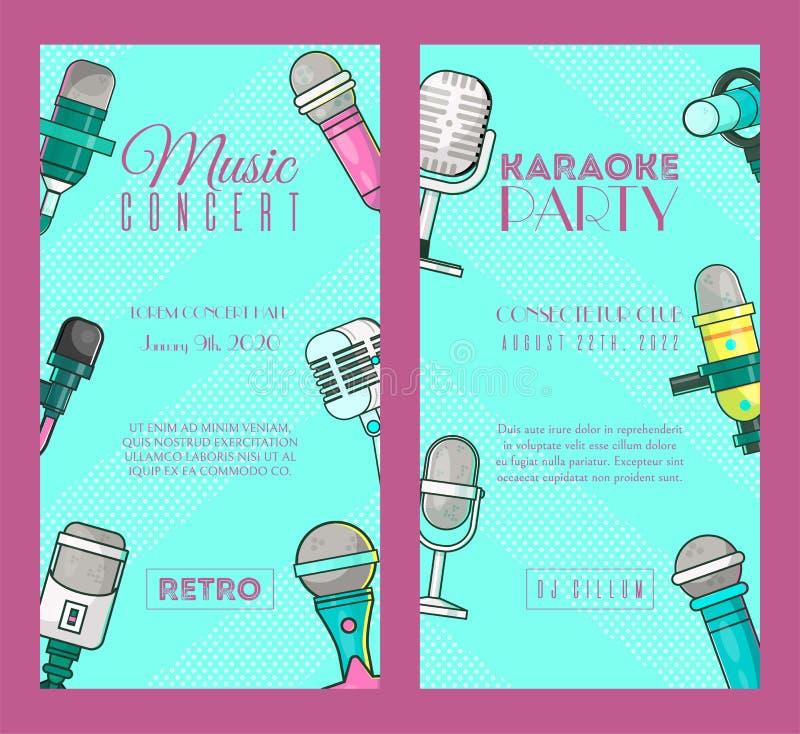Mikrofon ustawiaj?cy sztandaru wektoru ilustracja Muzyka na ?ywo koncert Karaoke partyjni plakaty Magnetofonowe piosenki piosenka ilustracja wektor