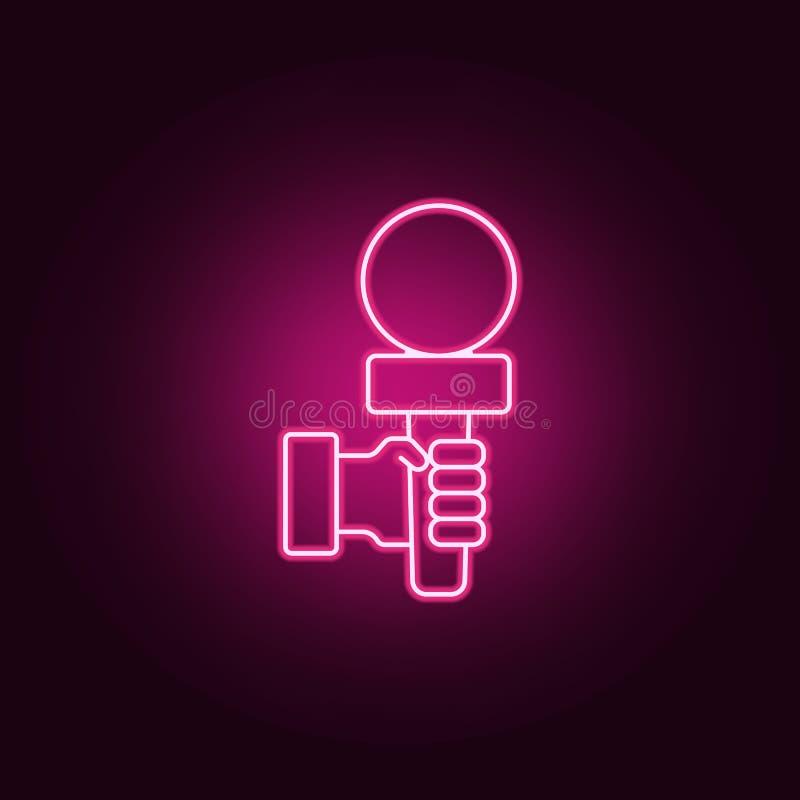 mikrofon w ręki ikonie Elementy wywiad w neonowych stylowych ikonach Prosta ikona dla stron internetowych, sieć projekt, mobilny  royalty ilustracja