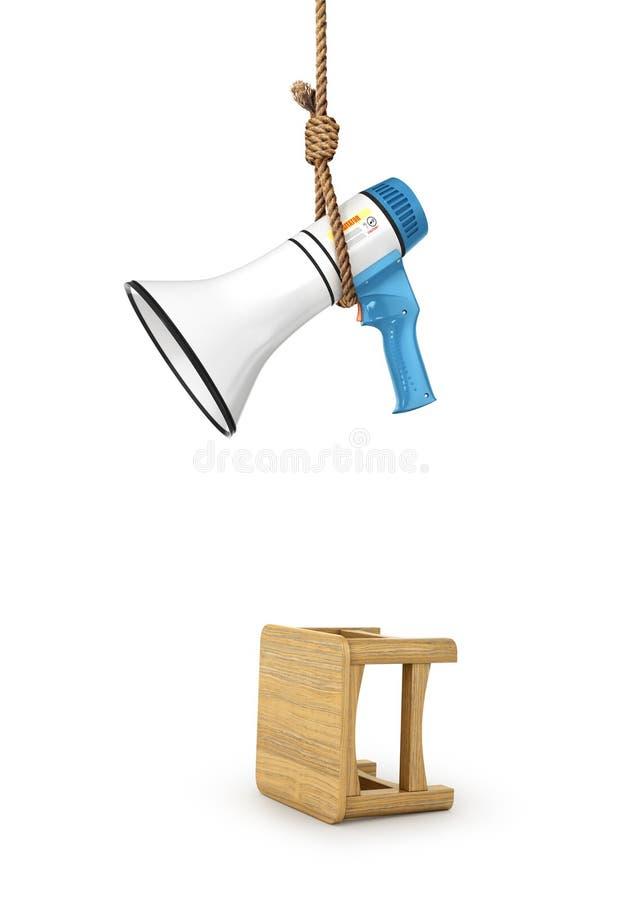 Mikrofon wiesza na pętli Pojęcie prohibicja przeciw słowu 3d ilustracji