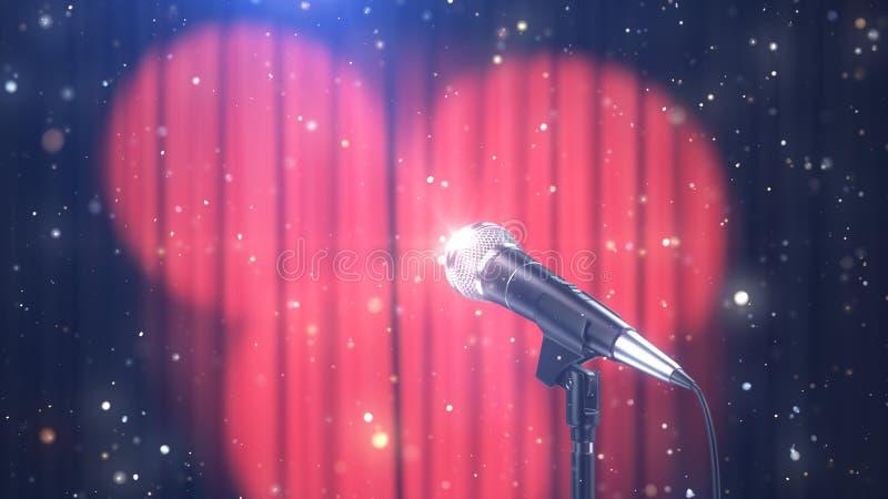 Mikrofon z Magicznymi cząsteczkami przeciw Zamazanym Czerwonym zasłonom z światło reflektorów, 3d Odpłaca się royalty ilustracja