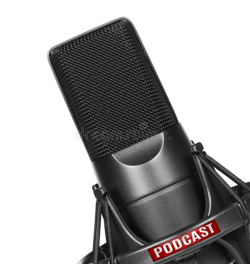 Mikrofon z podcast ikoną fotografia stock