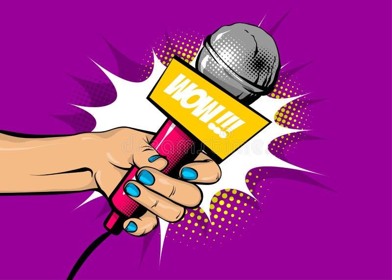 Mikrofonen för hållen för handen för kvinnapopkonst överraskar vektor illustrationer