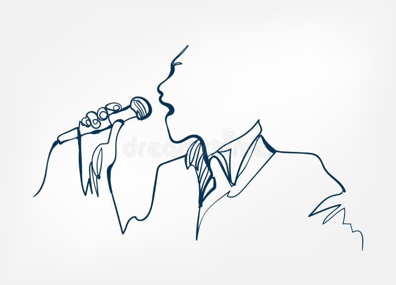 Mikrofonen för sångaremanjazz skissar linjen design royaltyfri illustrationer
