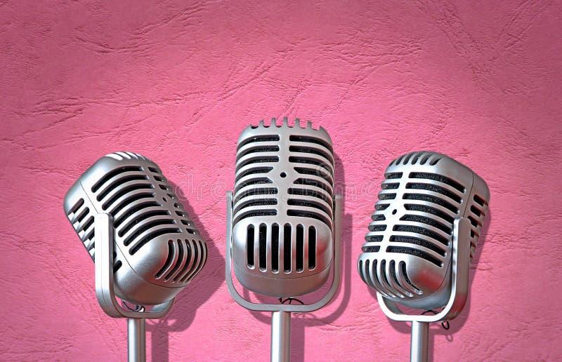 Mikrofonen för tappningmicstrio vaggar rulle som sjunger gruppen som musikbandet sjunger sångutrustning arkivbild