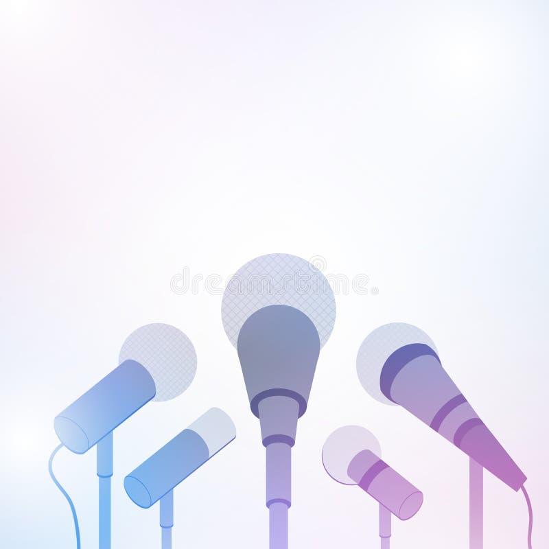 Mikrofoner för presskonferens eller intervju på vit bakgrund royaltyfri illustrationer