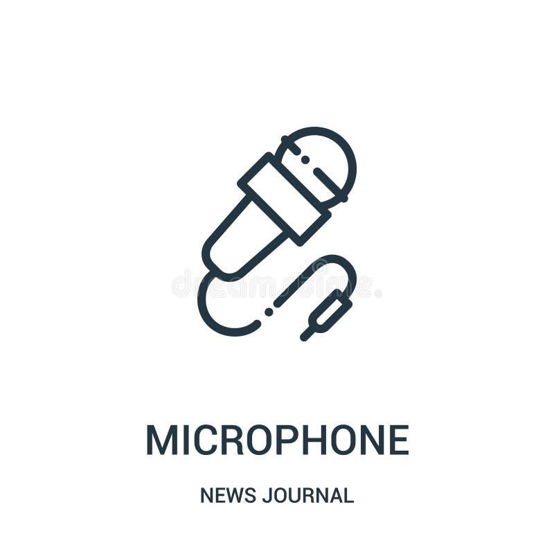 Mikrofonikonenvektor von der Nachrichtenzeitschriftensammlung Dünne Linie Mikrofonentwurfsikonen-Vektorillustration r stock abbildung