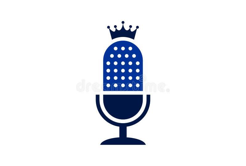Mikrofonkönig-Logoikone lizenzfreie abbildung