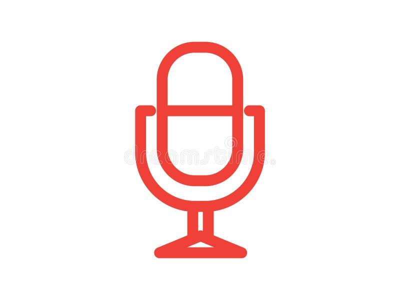 Mikrofonlinje f?rgvektorsymbol royaltyfria bilder