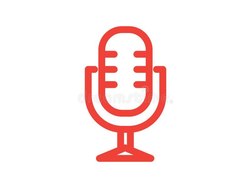 Mikrofonlinje f?rgvektorsymbol royaltyfri foto