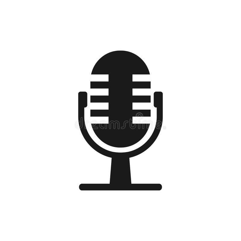 Mikrofonmic-symbol Vektorillustration, lägenhetdesign royaltyfri illustrationer