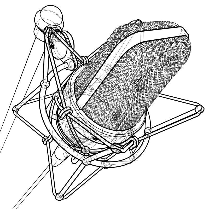mikrofonprofessionell royaltyfri illustrationer