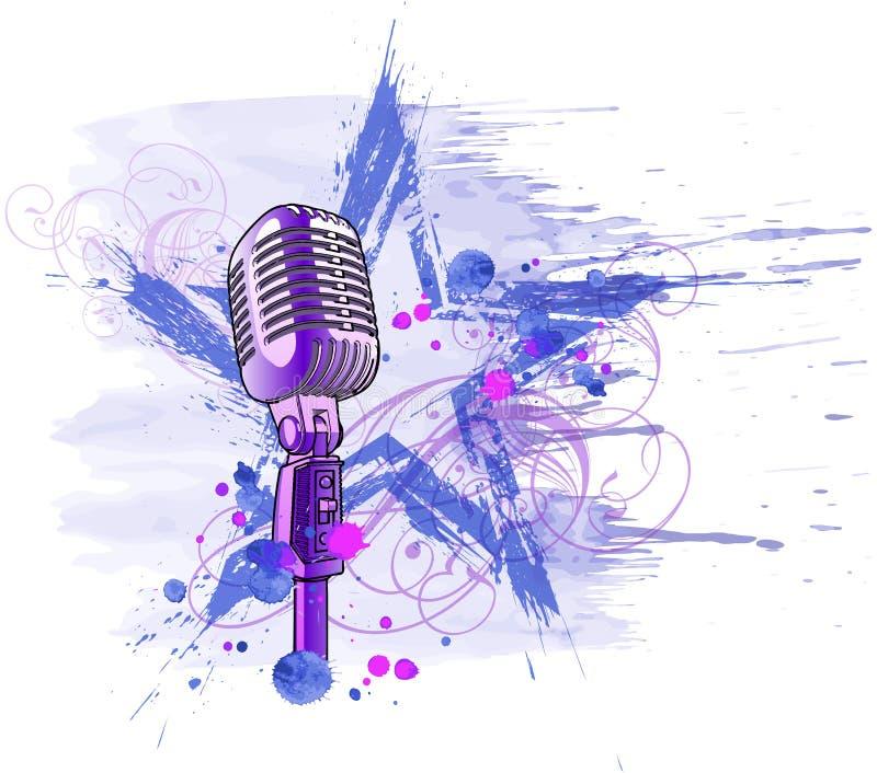 mikrofonrockstjärna stock illustrationer