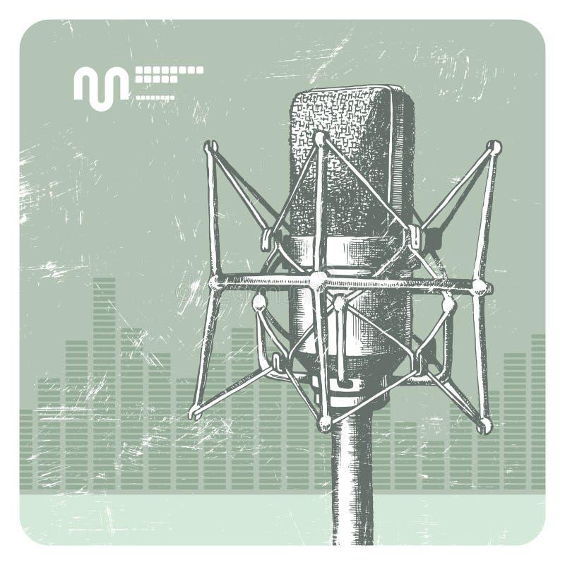 mikrofonstudio royaltyfri illustrationer