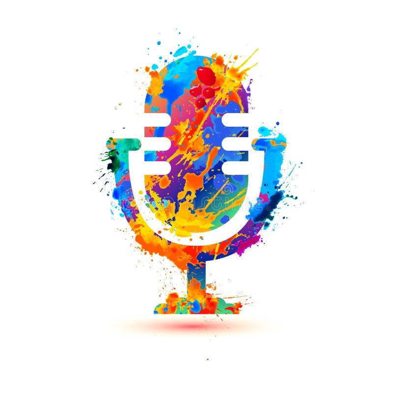 Mikrofonsymbol av färgstänkmålarfärg vektor illustrationer
