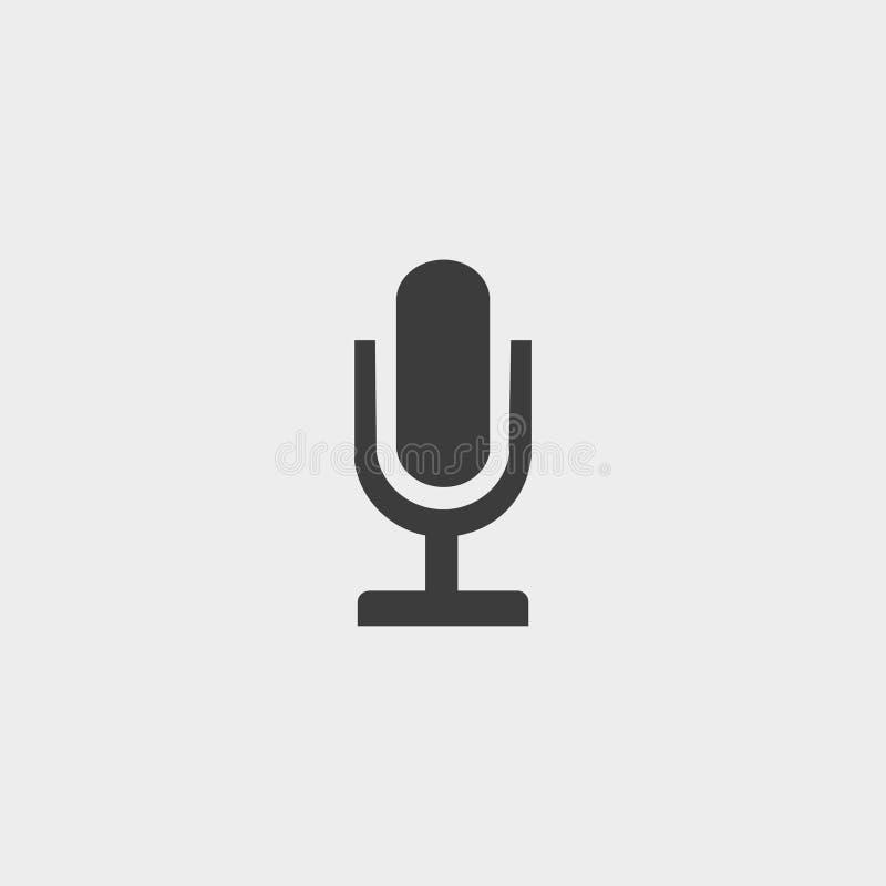 Mikrofonsymbol I En Plan Design I Svart Färg Vektorillustration ...