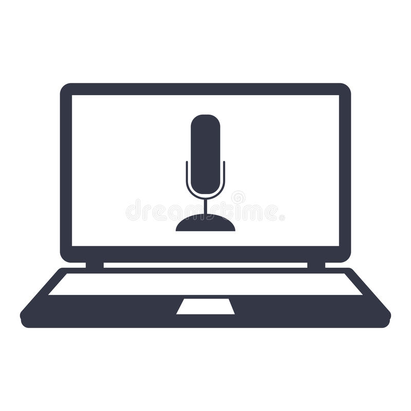 Mikrofonsymbol på skärmbärbara datorn royaltyfri illustrationer