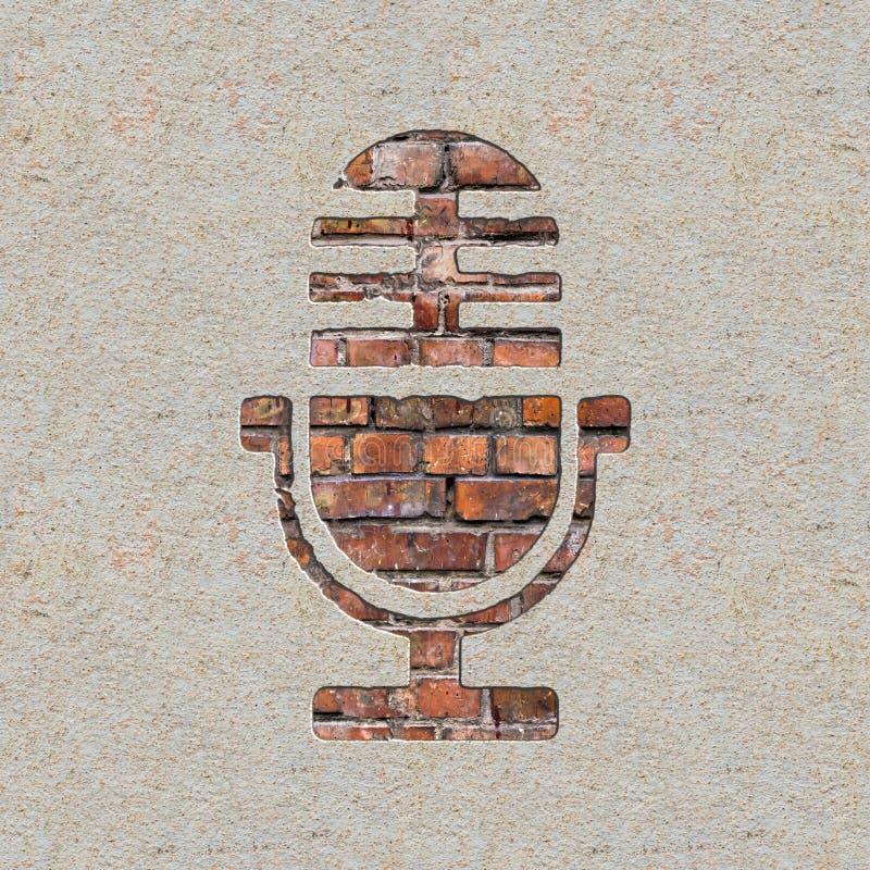 Mikrofonsymbol på väggen. royaltyfri illustrationer