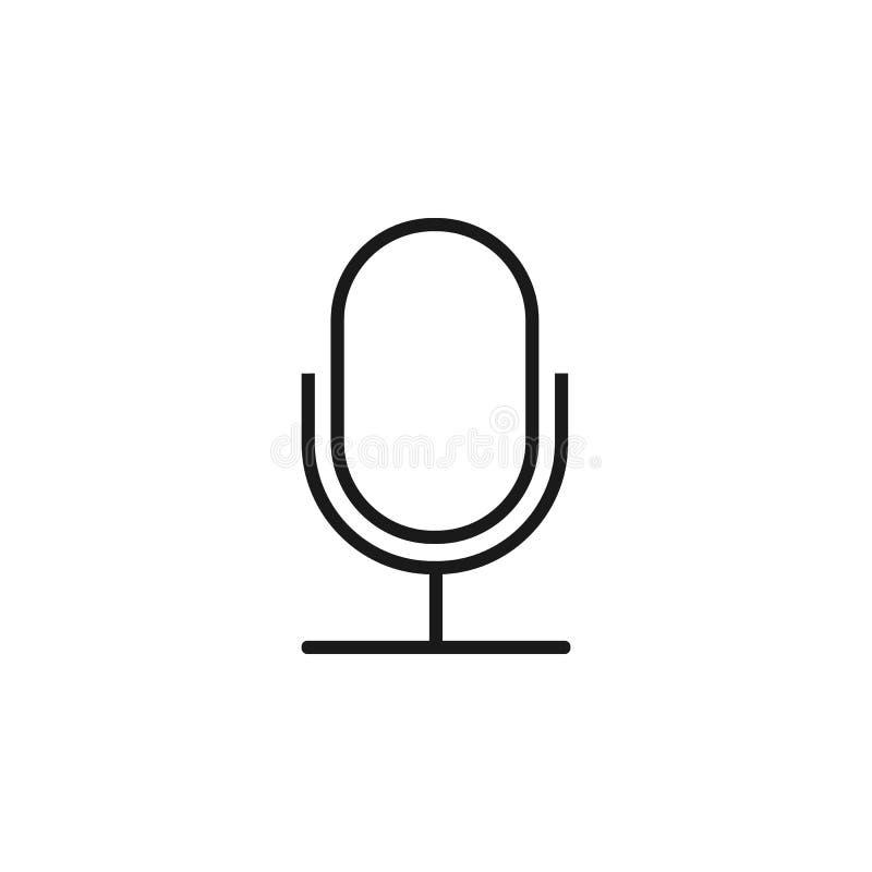 Mikrofonsymbol, registreringsapparattecken Plan design också vektor för coreldrawillustration stock illustrationer