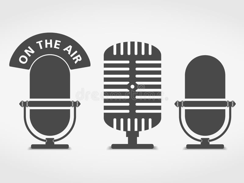 Mikrofonsymboler royaltyfri illustrationer