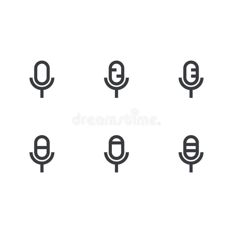 Mikrofonsymbolsuppsättning Översiktssymbol Vektorregistreringsapparatsymbol Rekord- tecken Manöverenhetsknapp Beståndsdel för pra vektor illustrationer
