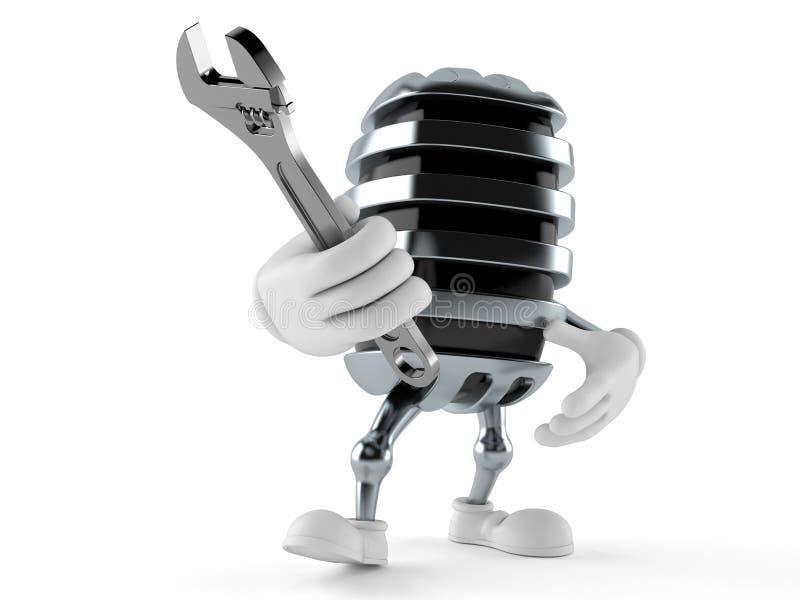 Mikrofontecken som rymmer den justerbara skiftnyckeln stock illustrationer