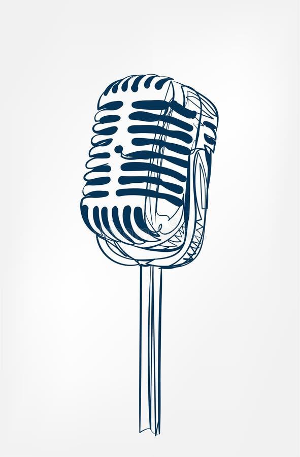 Mikrofonu nakreślenia linii projekt royalty ilustracja