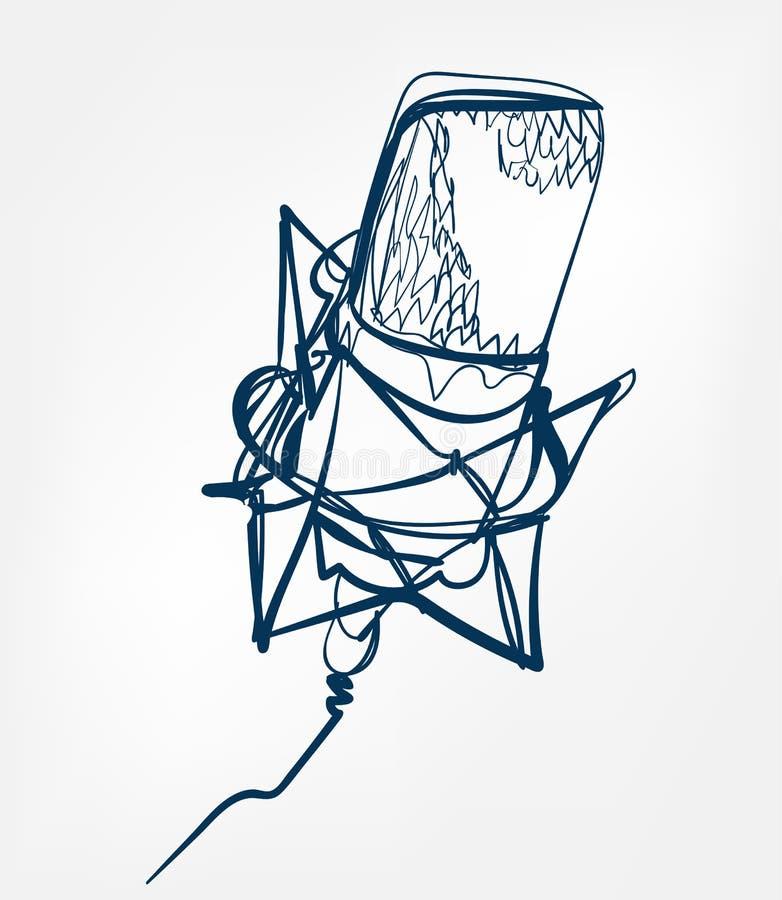 Mikrofonu nakreślenia linii projekt ilustracja wektor