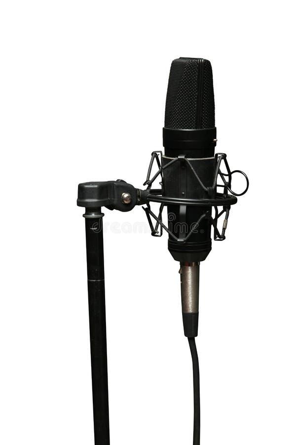 Mikrofonu pracowniany czerń na białym tle zdjęcia royalty free
