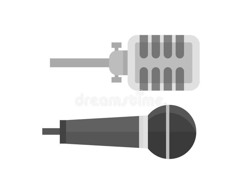 Mikrofonu wywiadu muzyki TV narzędzia przedstawienia głosu radia wektorowa ikona odizolowywająca ilustracja ilustracji