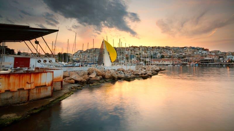 Mikrolimano小游艇船坞在比雷埃夫斯,雅典 免版税库存图片