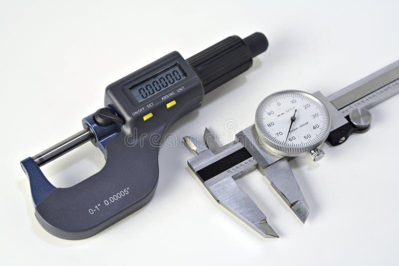 Mikrometer und Schieber lizenzfreie stockfotografie
