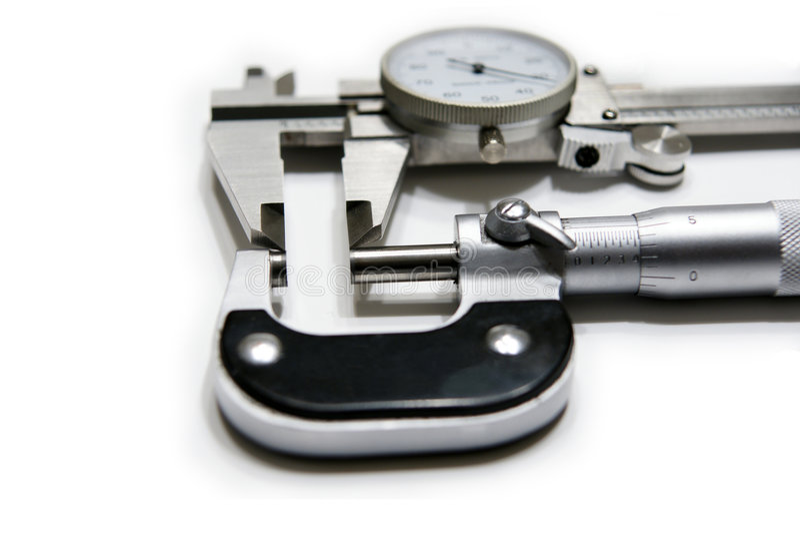 Mikrometer und Schieber stockbild