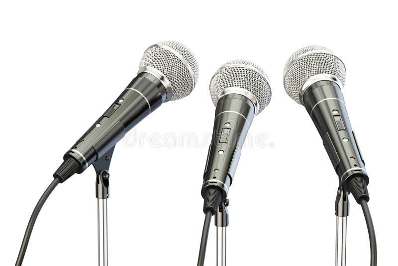 Mikrophone auf Ständen, Wiedergabe 3D lizenzfreie abbildung