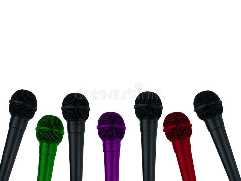 Mikrophone für Reporter auf lokalisiertem weißem Hintergrund stock abbildung