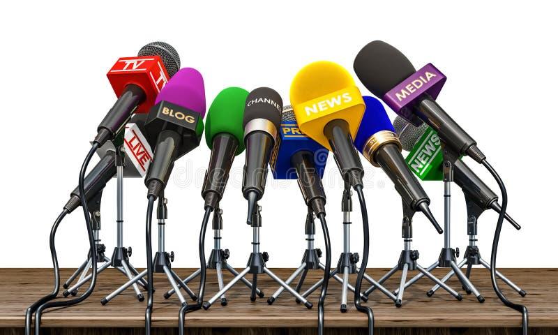 Mikrophone von verschiedenen Massenmedien, von Radio, von Fernsehen und von Presse für vor vektor abbildung