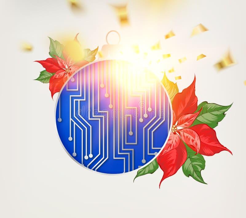 Mikroprocesoru circuitry bożych narodzeń projekt z czerwonym poinsecja kwiatem ilustracji