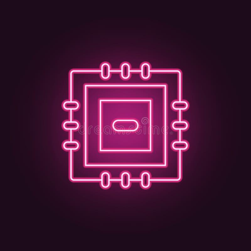 Mikroprocessorsymbol Beståndsdelar av tillverkning i neonstilsymboler Enkel symbol för websites, rengöringsdukdesign, mobil app,  royaltyfri illustrationer