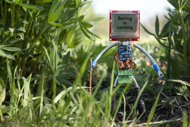 Mikrorobot w naturze wiosny obrazy stock
