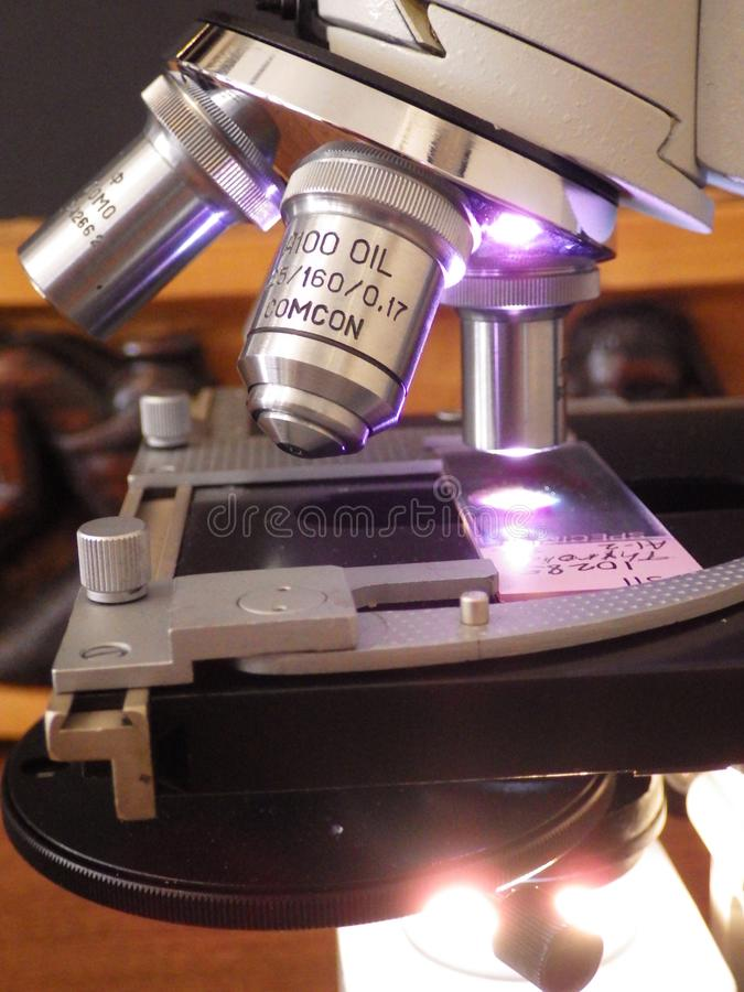 Mikroskopów obiektywni obiektywy z patologii obruszeniem zdjęcia royalty free