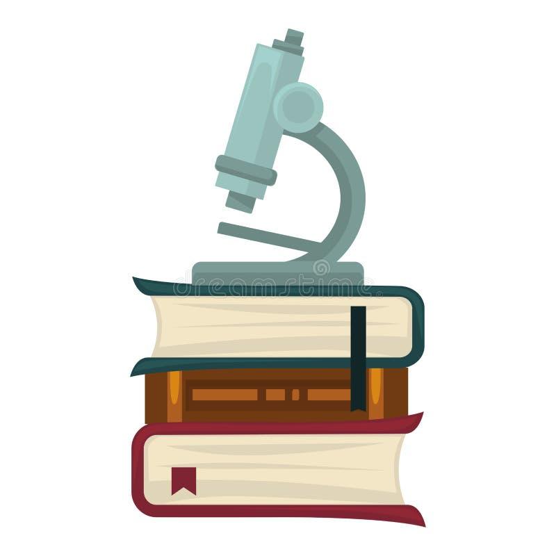 Mikroskop för biologiska forskningar som står på tjocka böcker vektor illustrationer