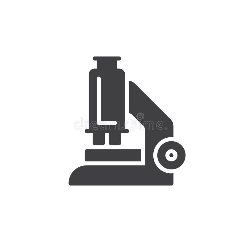 Mikroskop ikony wektor, wypełniający mieszkanie znak, stały piktogram odizolowywający na bielu ilustracji
