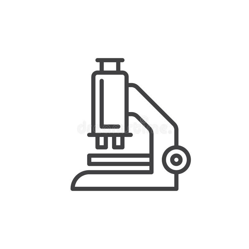 Mikroskop kreskowa ikona, konturu wektoru znak, liniowy stylowy piktogram odizolowywający na bielu royalty ilustracja